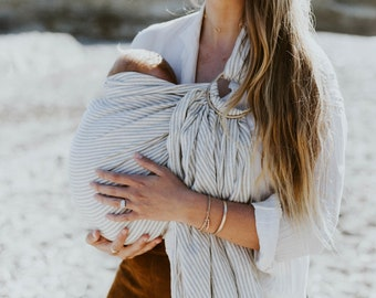 Baby Carrier, Infant Carrier, 100% Linen Ring Sling------ Manhattan Grey Stripes
