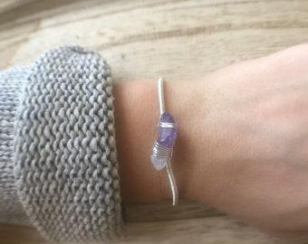 AMETHYST- wire wrapped/adjustable bracelet