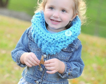 Cozy Cowl Crocheted Charlotte Blue  Photo Prop Scarf Shawl
