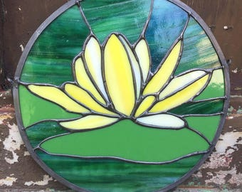 Stained Glass Yellow Water Lily Window Hanging
