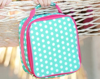 Monogrammed Mint and Hot Pink Hadley Bloom Lunchbox; Great Girl Lunchbox; Back to School