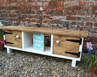 Rustic TV Stand Cottage Painted White Twin Cupboard