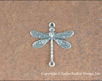 Antiqued Sterling Silver Plated Dragonfly (item 7008-small AS w/2 loops) - 6 Pieces