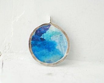 Cloud Silver Pendant, One of a Kind, 1st Anniversary Gift, Paper Jewelry, Cerulean Blue, Rain Necklace, Birthday Gift for Wife, Unique