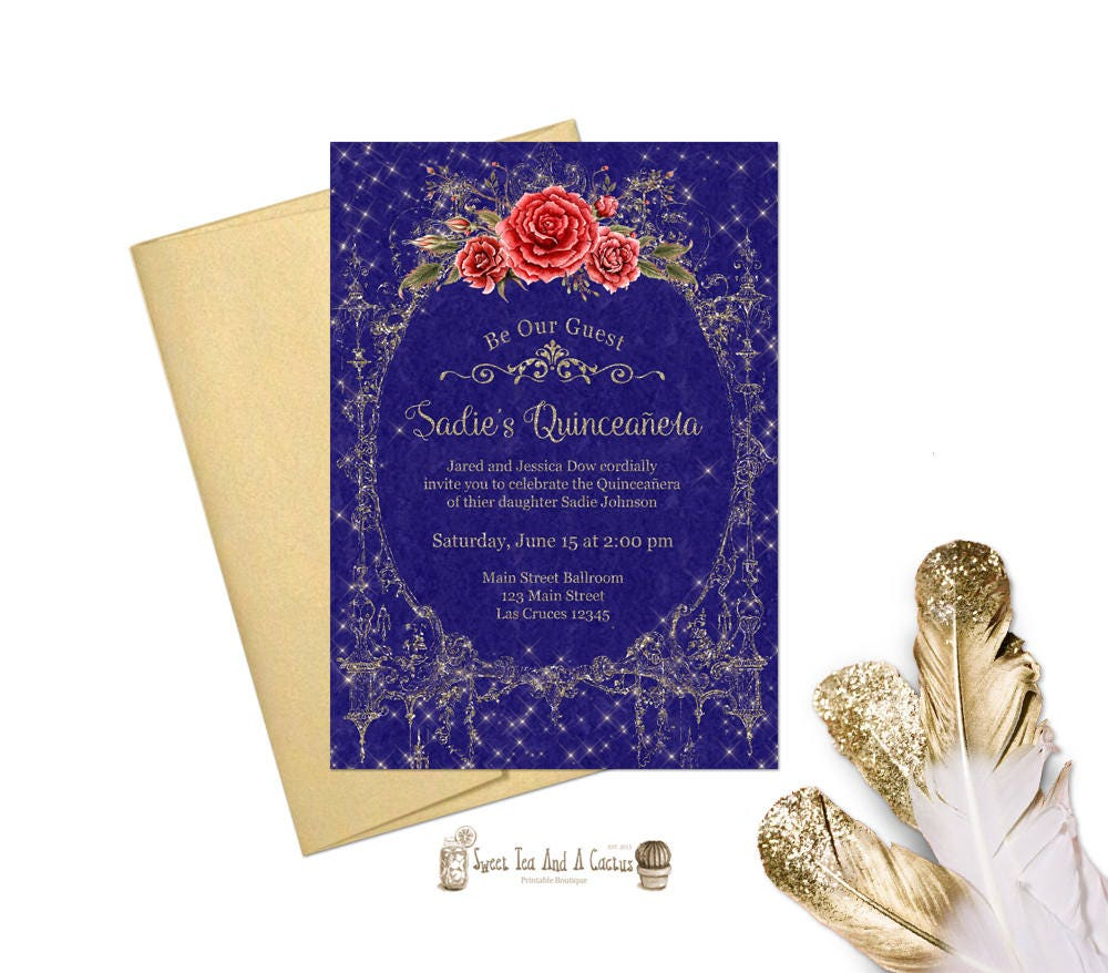 Beauty And The Beast Quinceanera Invitation Sweet Fifteen