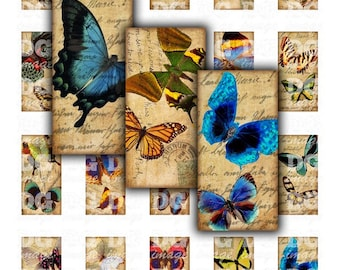 1x2 inch Vintage Butterflies Digital Collage Sheet for pendants, jewelry, scrapbook and mixed media projects Domino Art