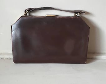 Vintage Coffin Handbag Brown Leather