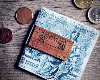 Money clip - custom wood gift idea - Musicassette MONEY FOR NOTHING wedding accessories