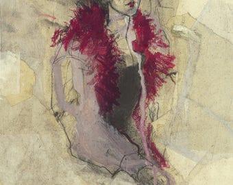 """Originalzeichnung, """"Hommage à Henri de Toulouse-Lautrec VI"""", Mischtechnik auf Papier-Collage"""