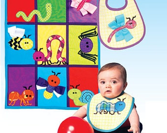 OUT of PRINT McCall's Pattern M7172 Bib, Quilt and Bug Appliques