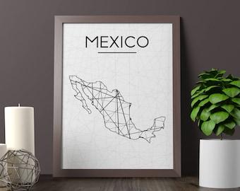 Mexico Map, Mexico Wall Art, Mexico Art, Mexico Poster, Mexico Room Decor, Mexico Print, Mexico Printable, JPG