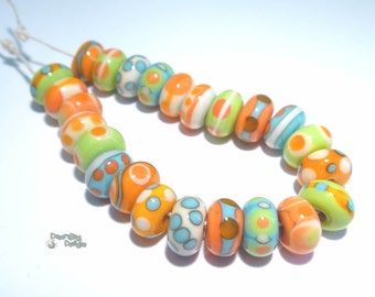 KEY LARGO Handmade Lampwork Beads Mix of Coral Blue Yellow Lime Orange - Organic