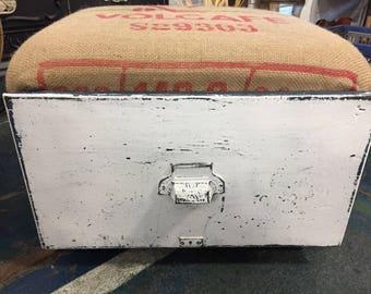 Vintage locker drawer rolling footstool