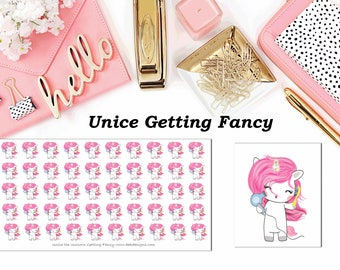 Unice the Unicorn Getting Fancy//Planner Character Stickers//EC//HP