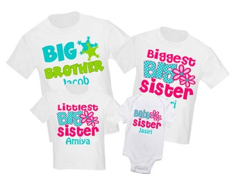 4 Pc Big Sister and Little Sister Set Sibling Shirt Set Personalized T Shirt - Any combination!