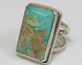 Sterling silver large handmade Royston turquoise ring, hallmarked in Edinburgh.