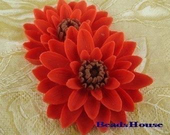 NEW 652-01-850-CA 2 Pcs Pretty Classic Big Chrysanthemum Cabochons - True Red w/ Brown.