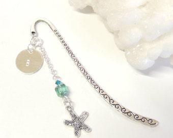 Starfish Bookmark with Initial, Hand Stamped Bookmark, Customized Gift, Personalized Gifts, Nautical Beach Starfish