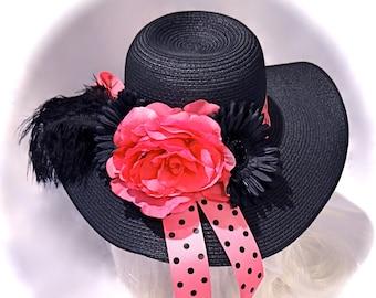 Hot Pink Derby Hat Women's Black Hats Sun Hats DH-102