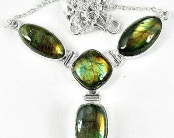 NECKLACE LABRADORITE SPECTROLITE, labradorite, spectrolite, labradorite gemstone pendant jewelry natural jew34
