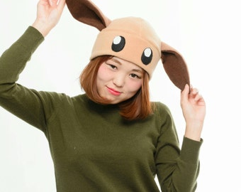 Eevee Pokemon Hat - Eevee Fleece Hat - Eevee Anime Hat - Eevee Beanie Hat - Eevee Hat - Pokemon Hat - Eevee Costume Hat - Eevee Cosplay hat