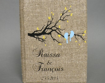 Wedding Guest Book / Wedding Book / Rustic Wedding Guest Book /  Linen Guest Book Size 6.1 inches X 8.3 inches Blue birds and Yellow leaves