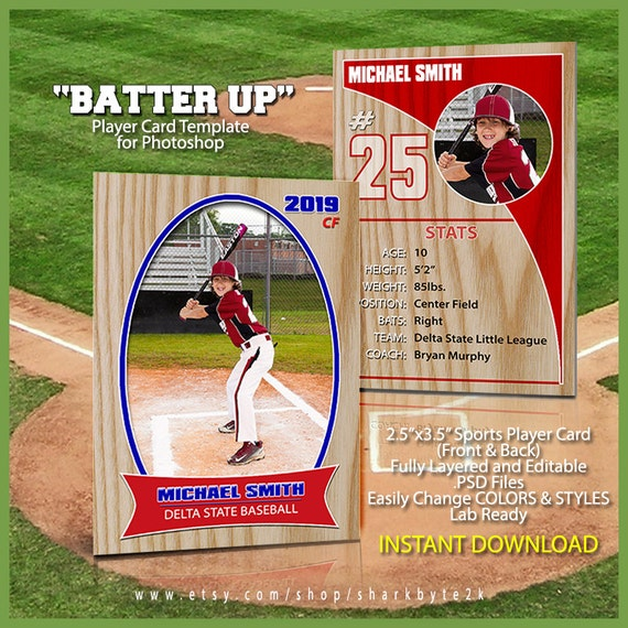 Baseball Sports Trader Card Template For Photoshop. BATTER UP.