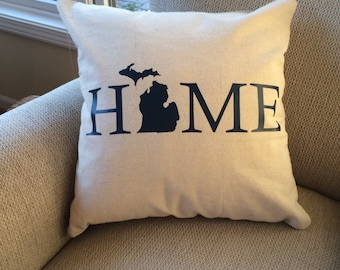 Michigan Pillow- Michigan Home Pillow- Michigan Home- Michigan Pillow Cover- Michigan gift- Michigan- Pillow Cover- Love Michigan