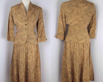 Original Late 1940's New Look Gold and Black Suit – UK 8 or 10