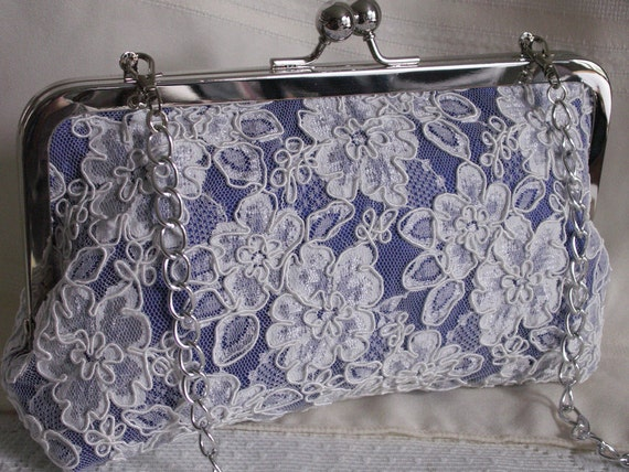 Handmade silk, Alencon lace clutch handbag. Blue, ivory, lavender. EVENING SKY by Lella Rae on Etsy