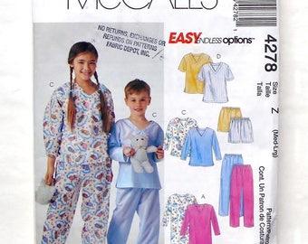 McCall's Boy's and Girls' Sleepwear Pattern #4278 - Size Med-Large (7-8 +10-12) - UNCUT Refolded