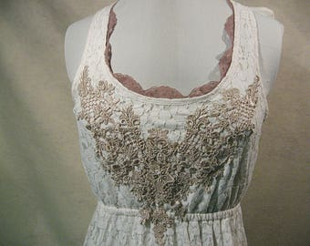 Lace Dress, White Lace Dress, Hi Lo Dress, Refashion Clothing, Refashion Clothing, Romantic Clothing, Size M Dress, Summer Dress