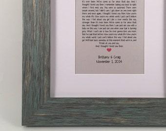 Framed Song Lyrics - Wedding Song Lyrics - Framed Wedding Vows - Wedding Gift - Anniversary Gift - Gray & Blue Textured Wood Frame White Mat