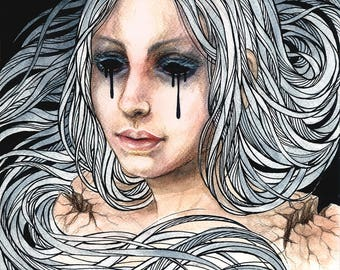 Original watercolors black tears illustration dark art surrealism surreal goth gothic