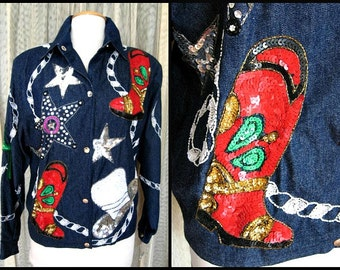 Sequin Cowgirl Jacket / fits M-L / Felicity by Jarrison Morgan Jacket / Beaded Western Jacket / Diamonds and Denim Jacket / Fancy Cowgirl