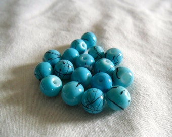 Turquoise Glass Beads - Turquoise Glass Sphere Beads - Turquoise Glass Round Beads - Turquoise Glass Jewelry Beads - 17 pieces - 8 mm beads