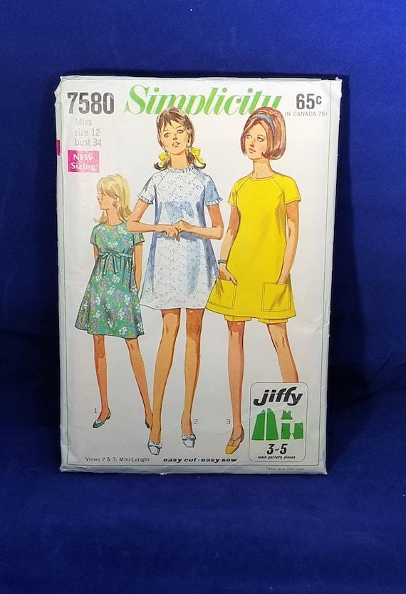 Vintage Simplicity Sewing Pattern Simplicity 7580 Vintage