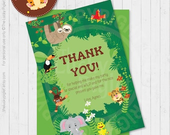 JUNGLE THANK YOU cards, Jungle Party Birthday Party Decorations, Jungle Party Thank You Cards | Instant Download. Edit Text in Adobe Reader