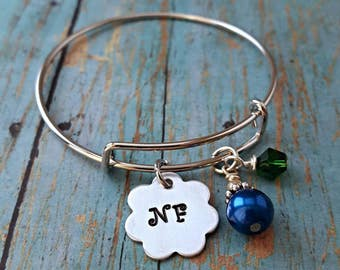 NF Bracelet - End NF - Neurofibromatosis -  Neurofibromatosis Jewelry - NF Jewelry - Blue and Green Awareness Ribbon - Hand Stamped