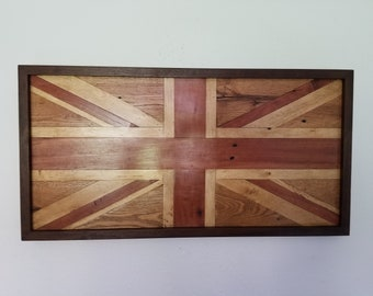 British Flag - Union Flag - Union Jack, made from Redheart, Maple and Oak