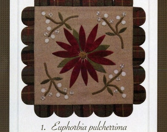 Pattern: Poinsettia Wool Mat Created by The Cottage at Cardiff Farms
