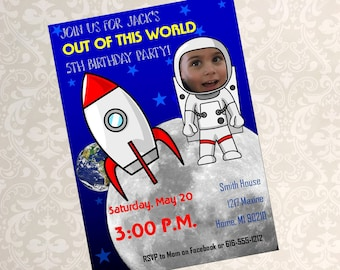 Space Birthday Invitation, Outerspace Birthday Invite, Rocket Birthday Invite