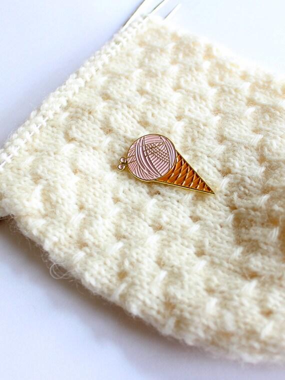 Yarn Ball Waffle Cone Soft Enamel Pin