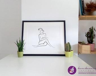 NAKED WOMAN 2 / abstract nude sketch / nude woman charcoal print / nude nursery / minimal art wall decor / charcoal sketch, nude line sketch