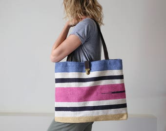 Handbag - Tote - beach bag - leather cotton - vacation