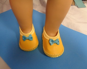 Yellow and Blue-Mary Jane- Flats- Doll Shoes-- for 18 inch dolls- fits american girl dolls