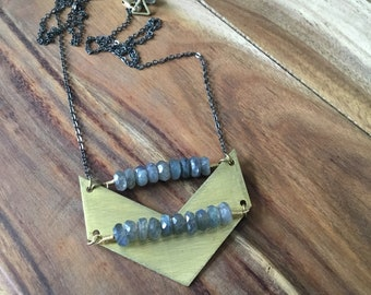 Faceted labradorite and brushed brass chevron necklace