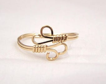 gold filled, sterling silver, or two toned wire wrapped adjustable ring