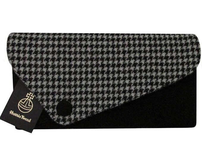 Harris Tweed Asymmetric Houndstooth & Jet Black Clutch Bag