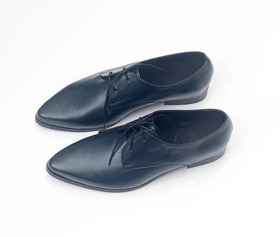Shoes Black Women Black Dress Leather Comfortable Oxfords Flats
